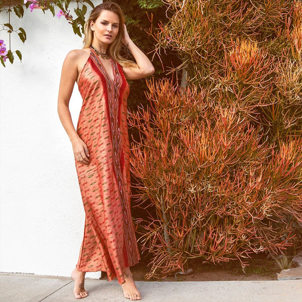 orange silk ikat dress The Fox and the Mermaid