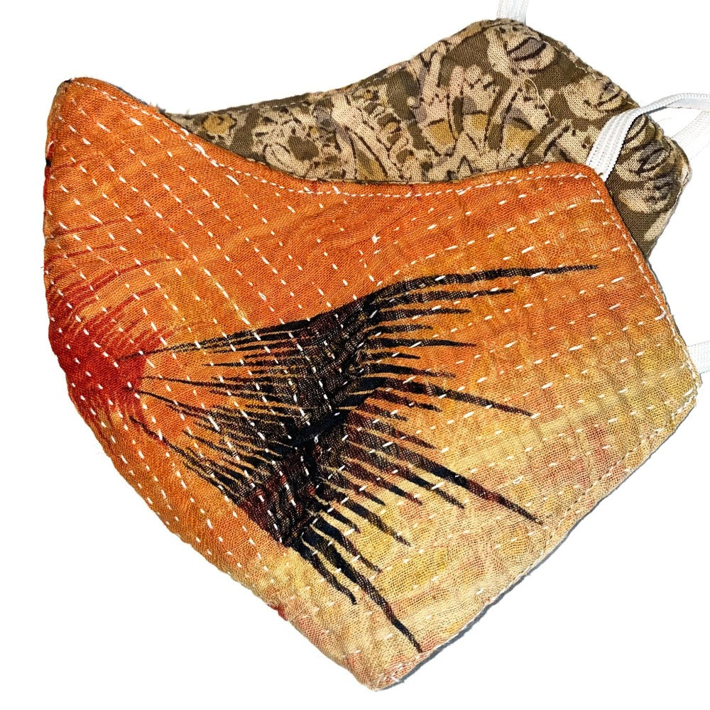 orange and black reversible kantha cotton mask - The Fox and the Mermaid