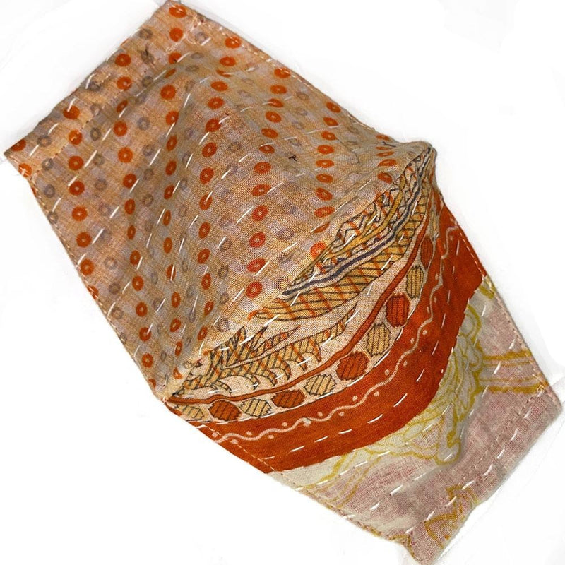 orange and beige kantha mask - The Fox and the Mermaid