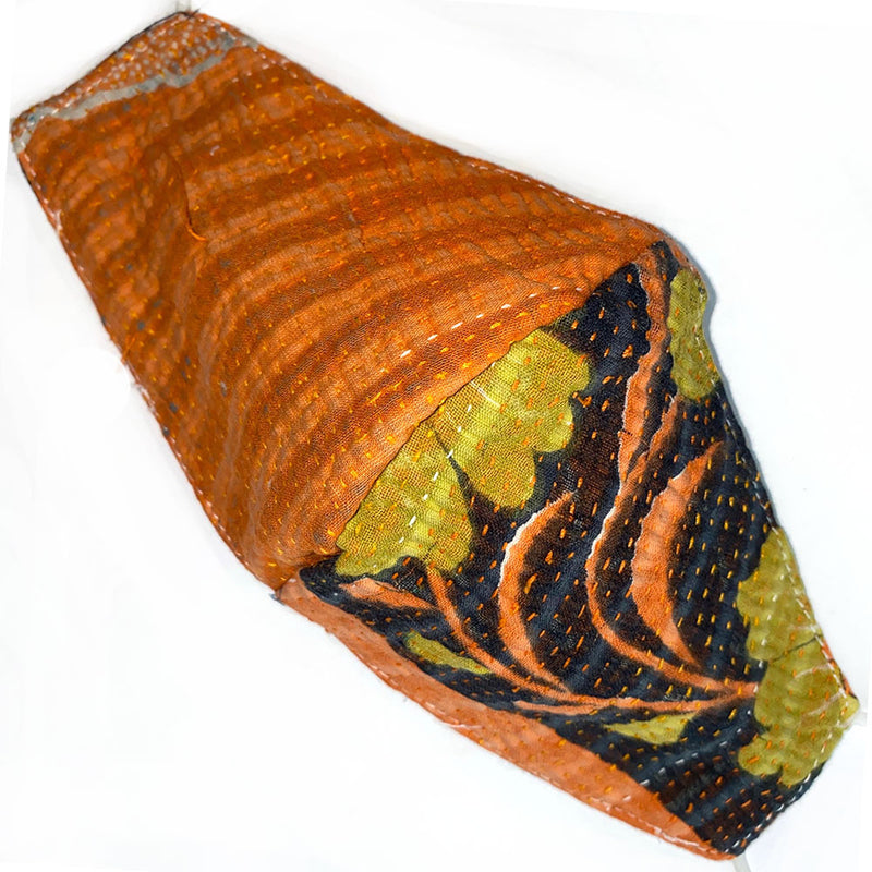 orange kantha floral mask - The Fox and the Mermaid