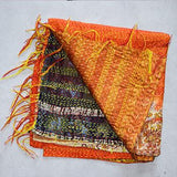 Vintage Hand-Stitched Kantha Scarf - The Fox and The Mermaid - 3