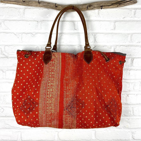 Orange Kantha Beach Bag The Fox and the Mermaid