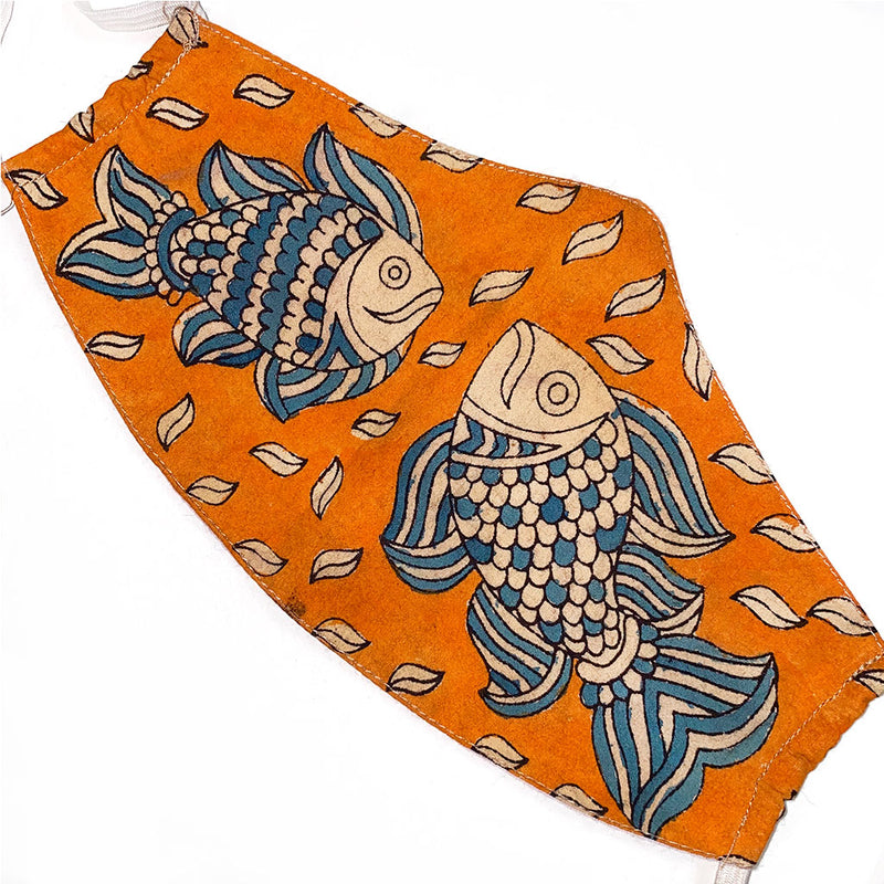 Orange and Blue face mask with painted fish - The fox and the Mermaid