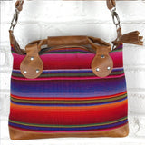 blue orange and pink serape bag Leather Embroidered Strap