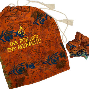 embroidered silk bag - The Fox and the Mermaid