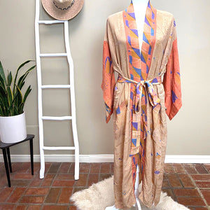 orange soft silk crepe kimono - The Fox and the Mermaid
