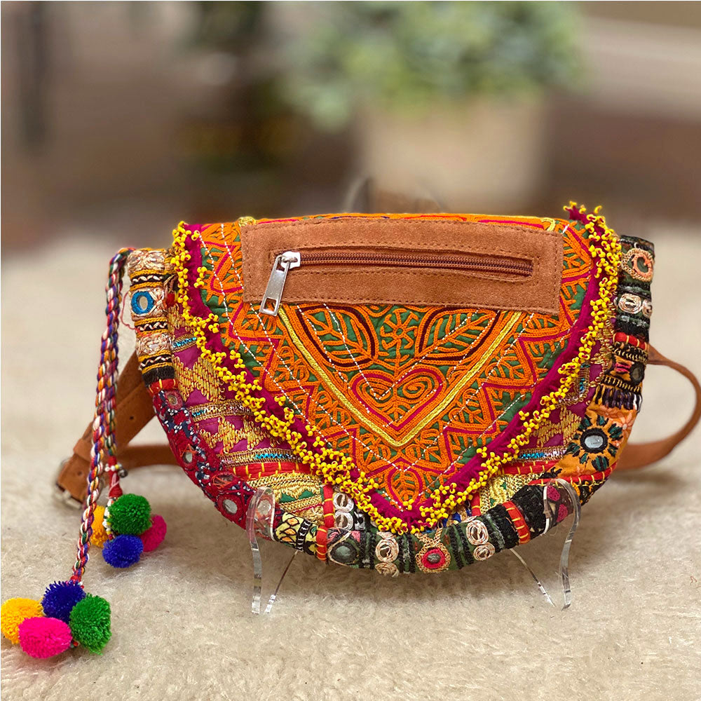 Orange embroidered Boho Festival Bag - The Fox and the Mermaid