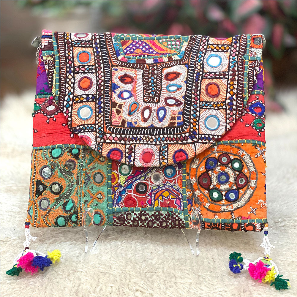Tribal embroidered Indian clutch - The Fox and the Mermaid