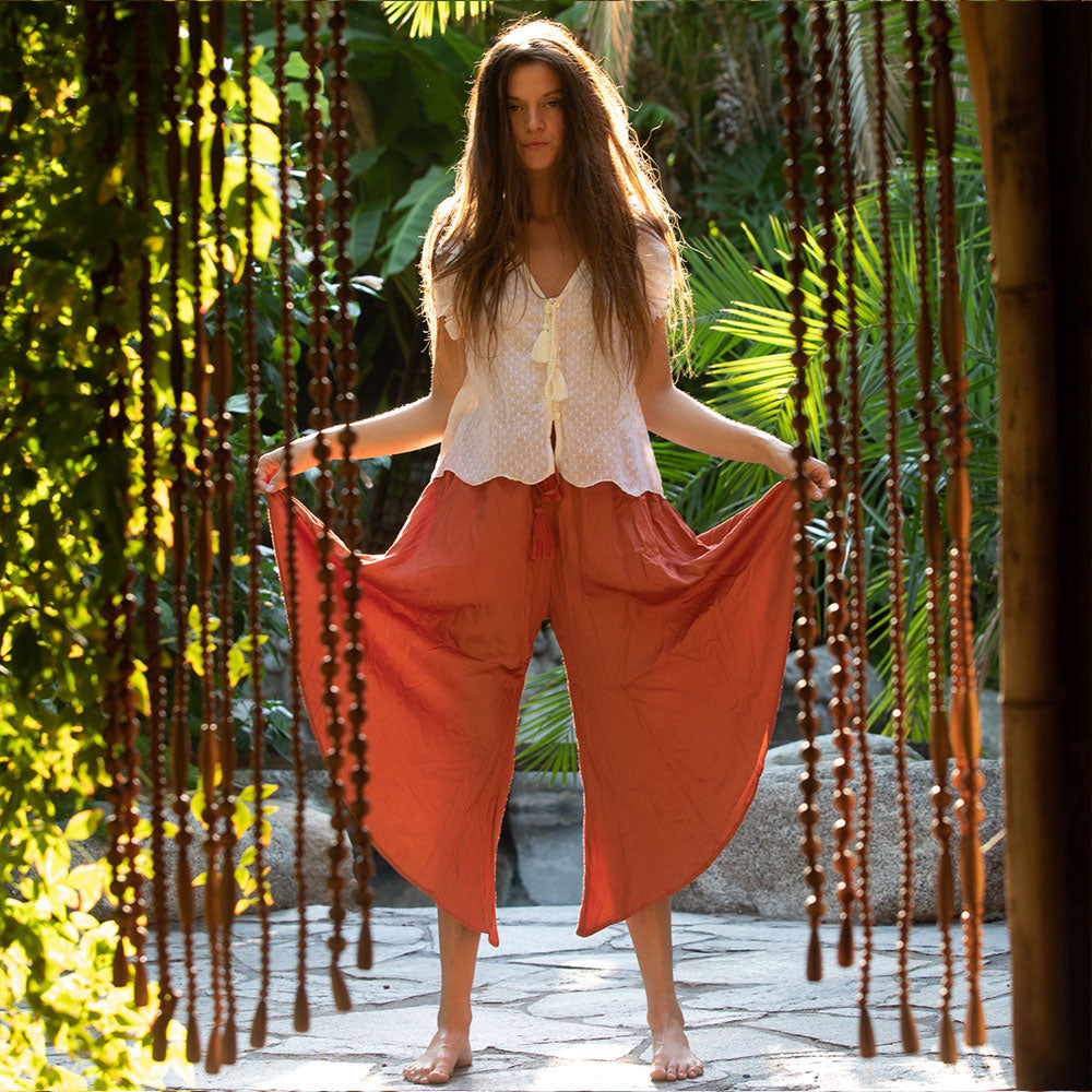 satin viscose flowy pants - The Fox and the Mermaid