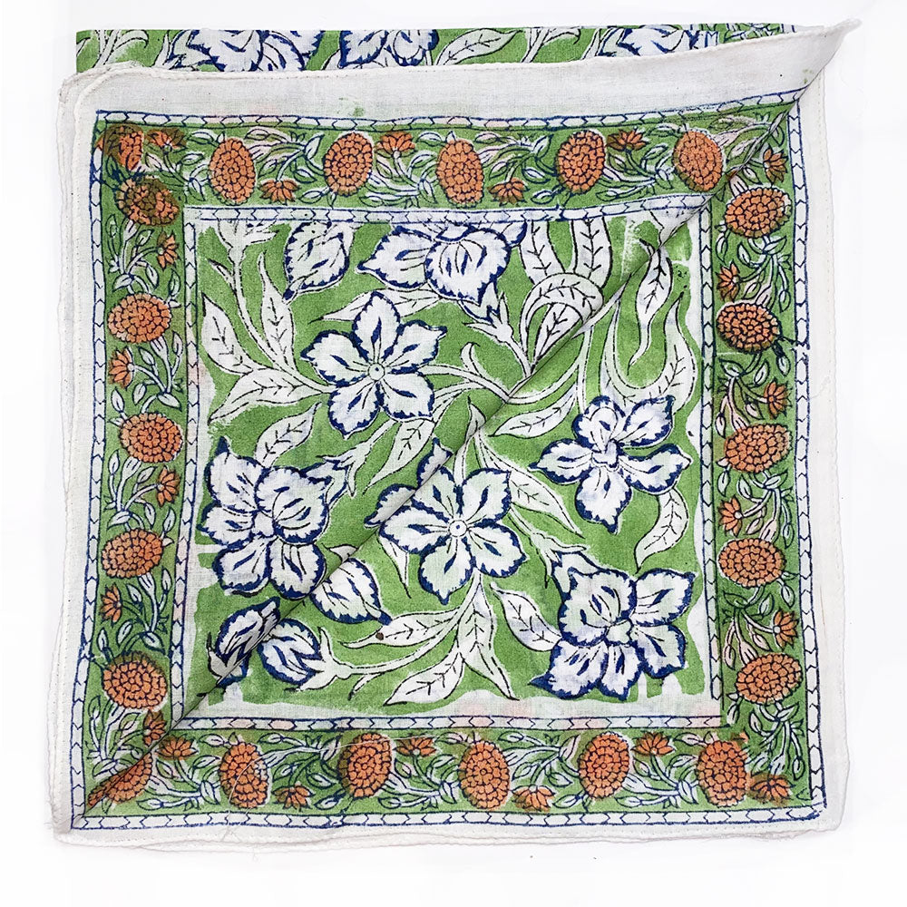 green block printed bandana with blue and orange flowers - The Fox and the Mermaid