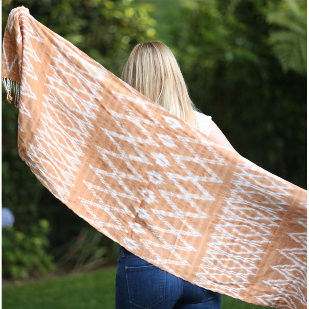 Orange brown handwoven scarf - The Fox and the Mermaid