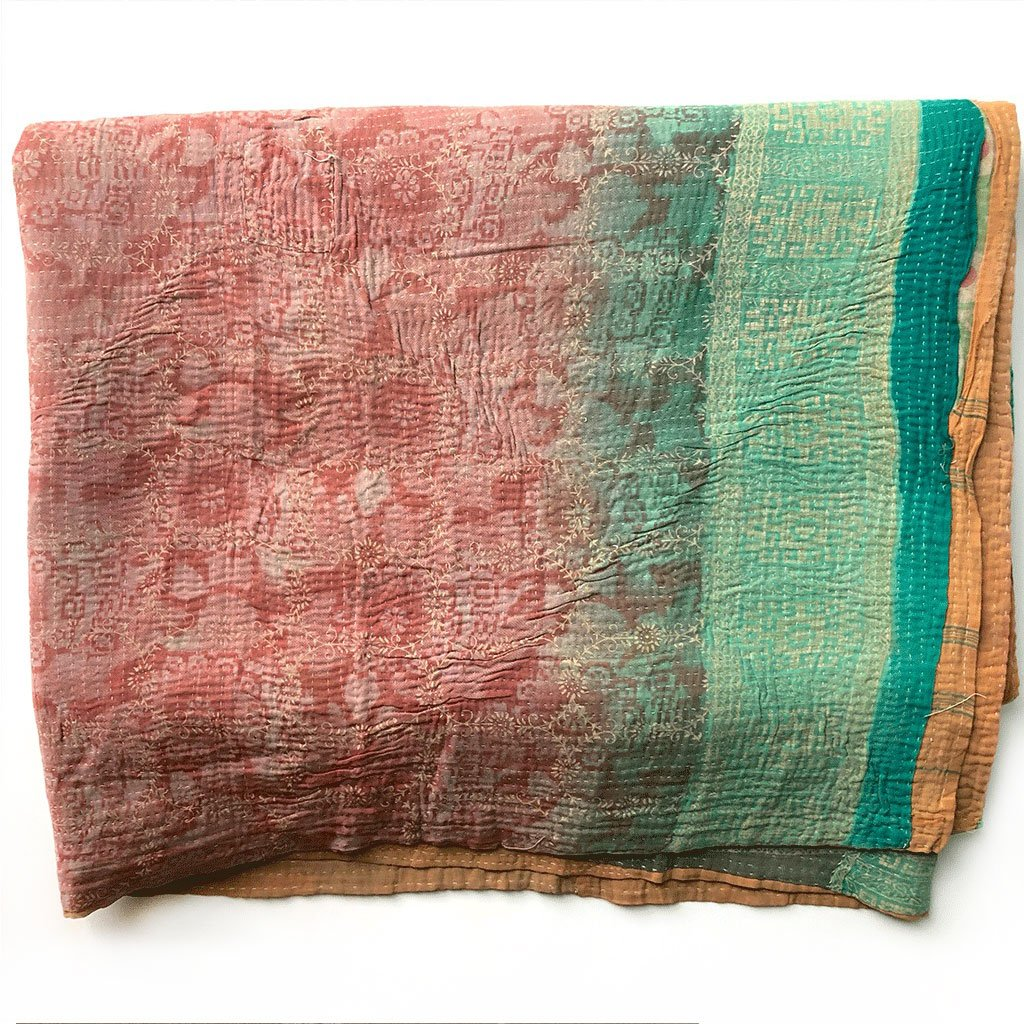 green peach and gold kantha quilt The Fox and the Mermaid