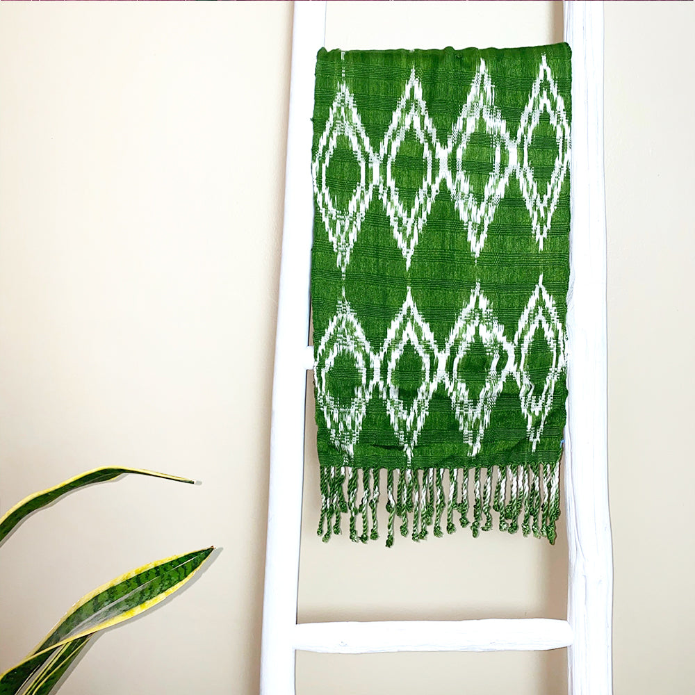 bright green handwoven scarf - The Fox and the Mermaid