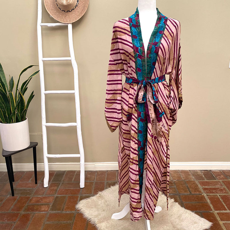 pink and red vintage silk robe - The Fox and the Mermaid