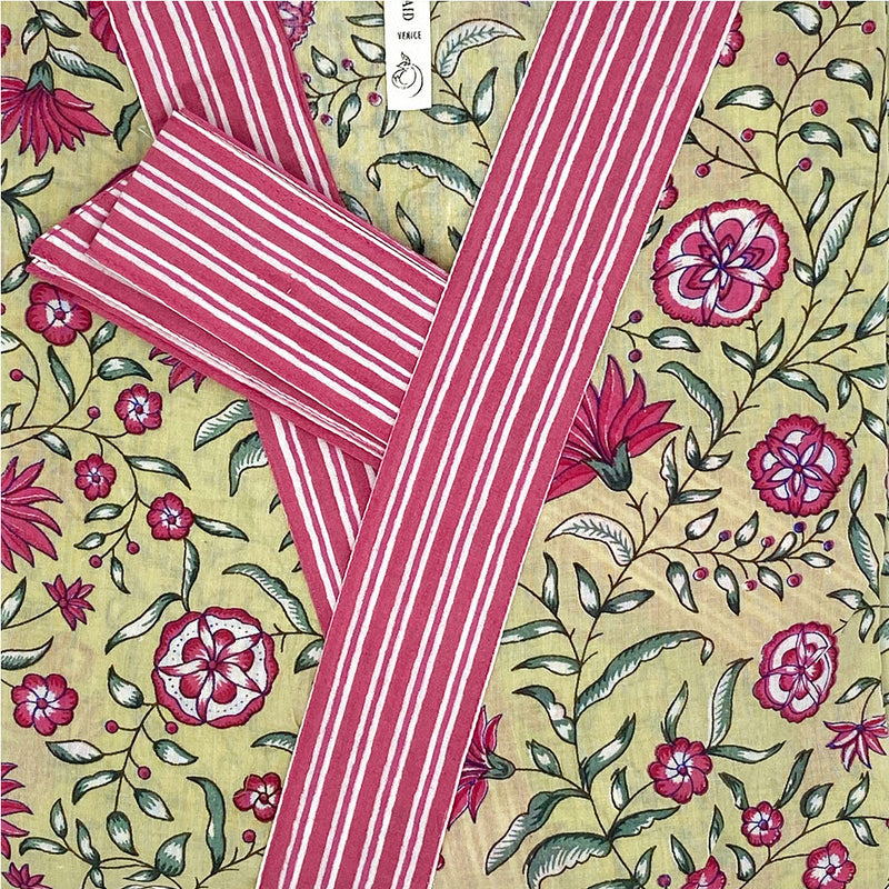 pink striped border on floral robe - The Fox and the Mermaid