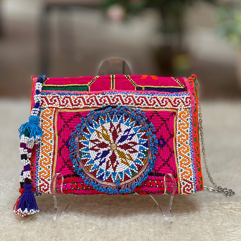 Embroidered and Beaded Vintage Indian Tribal Bag with Chain - The Fox and the Mermaid