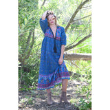 long blue 1970s style vintage indian cotton dress the-fox-and-the-mermaid