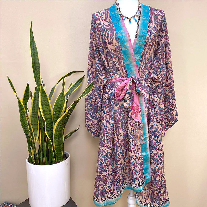PINK AND BLUE PAISLEY SILK ROBE - THE FOX AND THE MERMAID