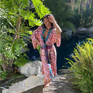 pink striped vintage silk kimono - The fox and the mermaid