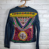 denim jacket with vintage embroidery embellishments The Fox and the Mermaid