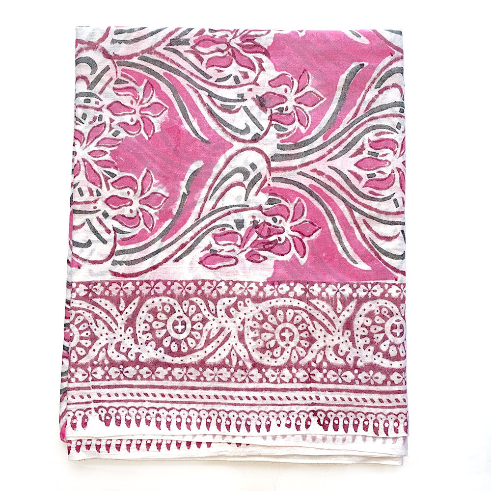 pink and green sarong with large flower pattern - The Fox and the Mermaid