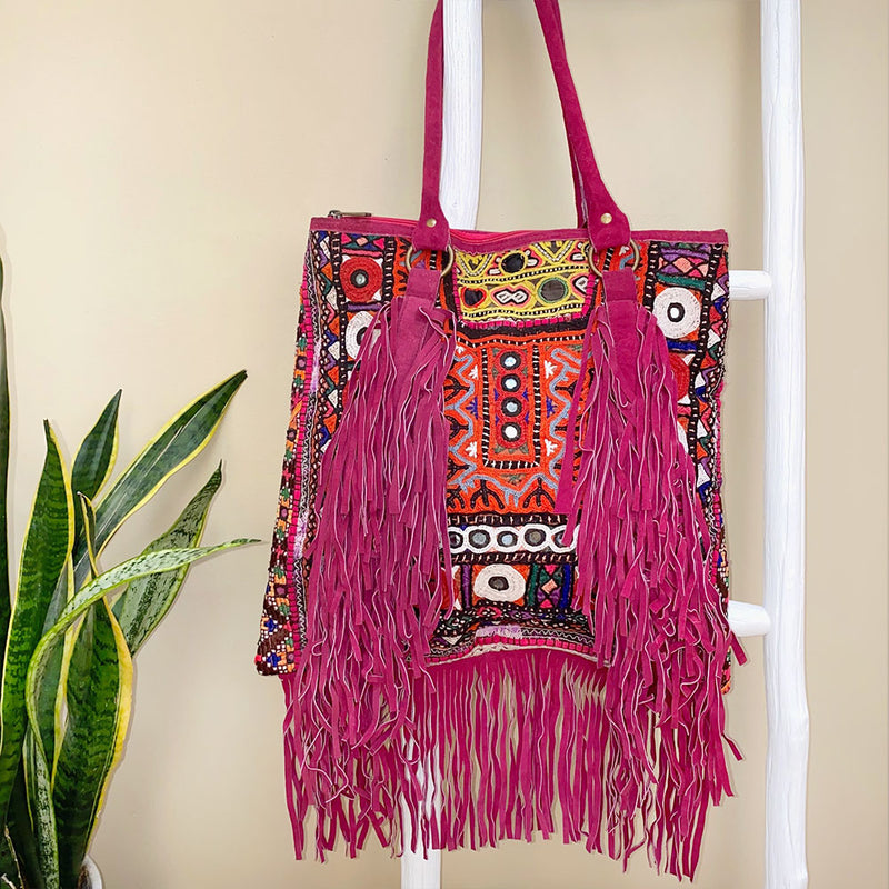 Pink Suede Embroidered Bag with Fringe - The Fox and the Mermaid