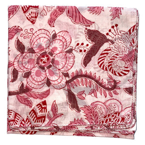 pink and red hand block printed scarf - The Fox and the Mermaid