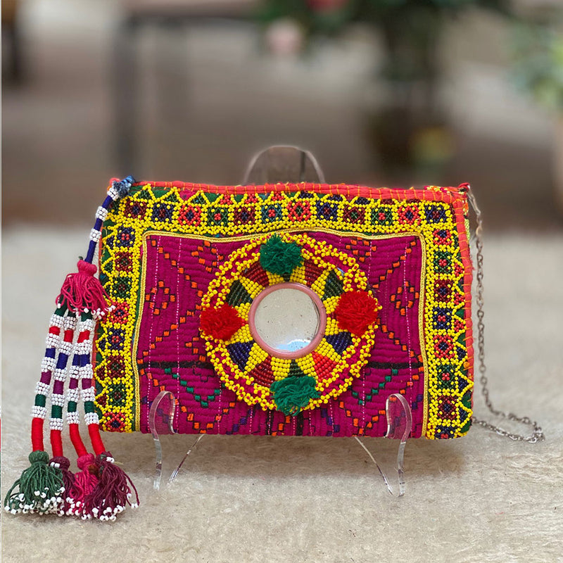 Beaded Tribal Kuchi bag with tassels - The Fox and the Mermaid