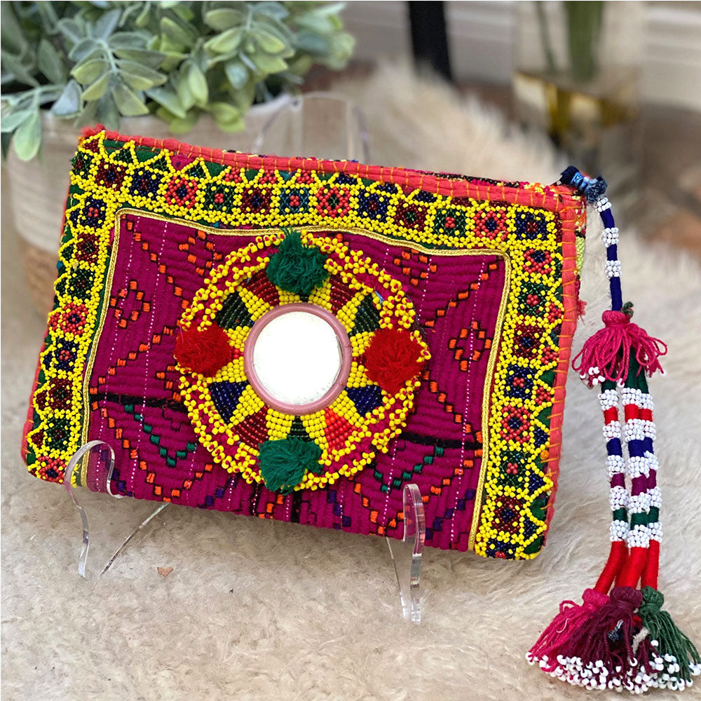 tribal beaded indian banjara clutch - The Fox and the Mermaid
