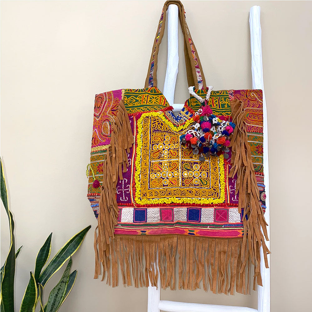 Beaded suede banjara bag - The Fox and the Mermaid