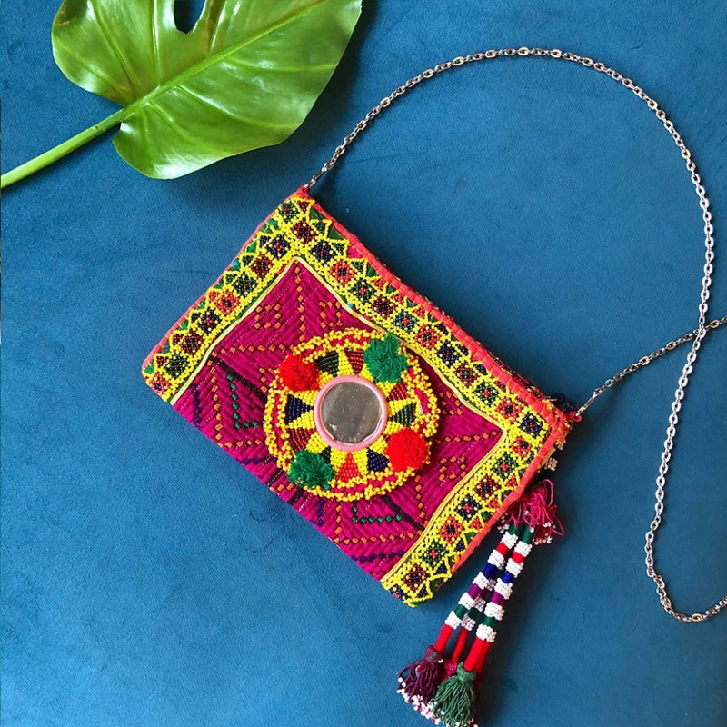 Embroidered and Beaded Banjara Clutch - The Fox and The Mermaid