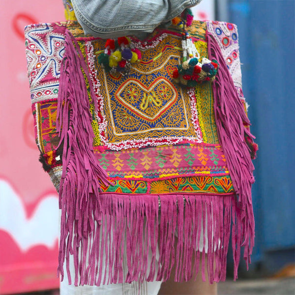 Pink Banjara Bag with Pink Fringe and Tassels