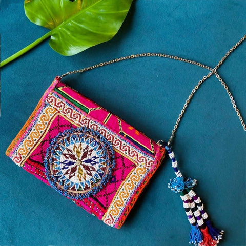 Embroidered and Beaded Banjara Clutch