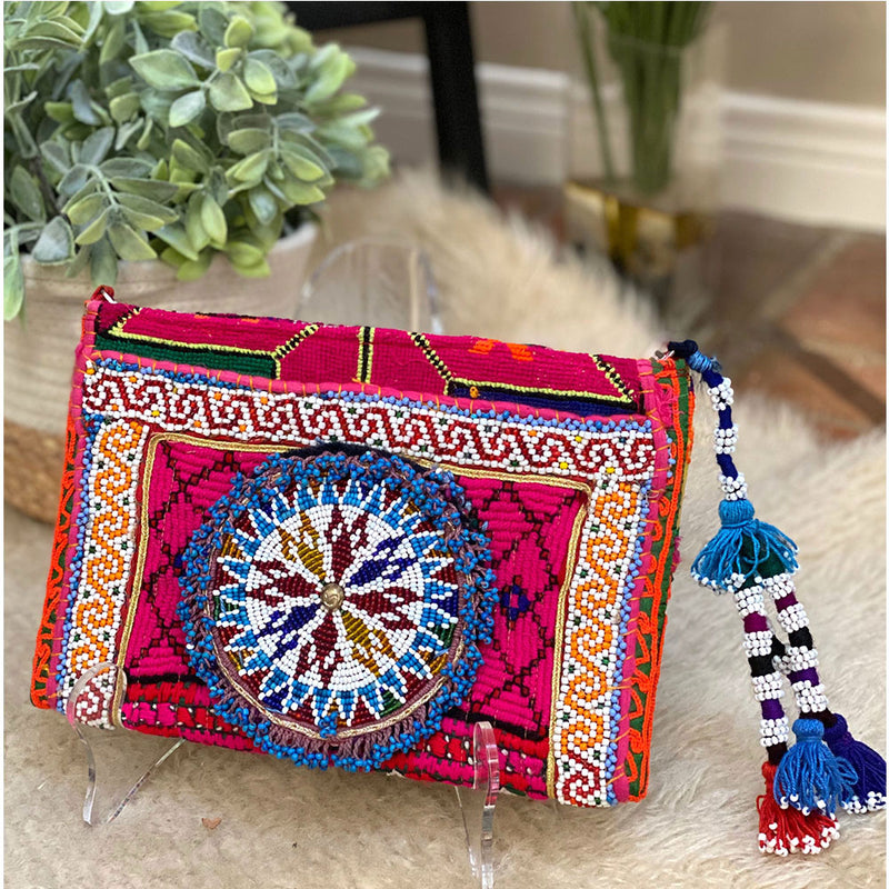 Pink Banjara bag with beaded patch - The Fox and the Mermaid