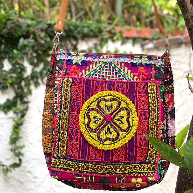 pink embroidered banjara bag with beaded tribal medaliion - The Fox and the Mermaid
