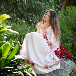 Pink Cotton Voile Kaftan Dress - The Fox and the Mermaid