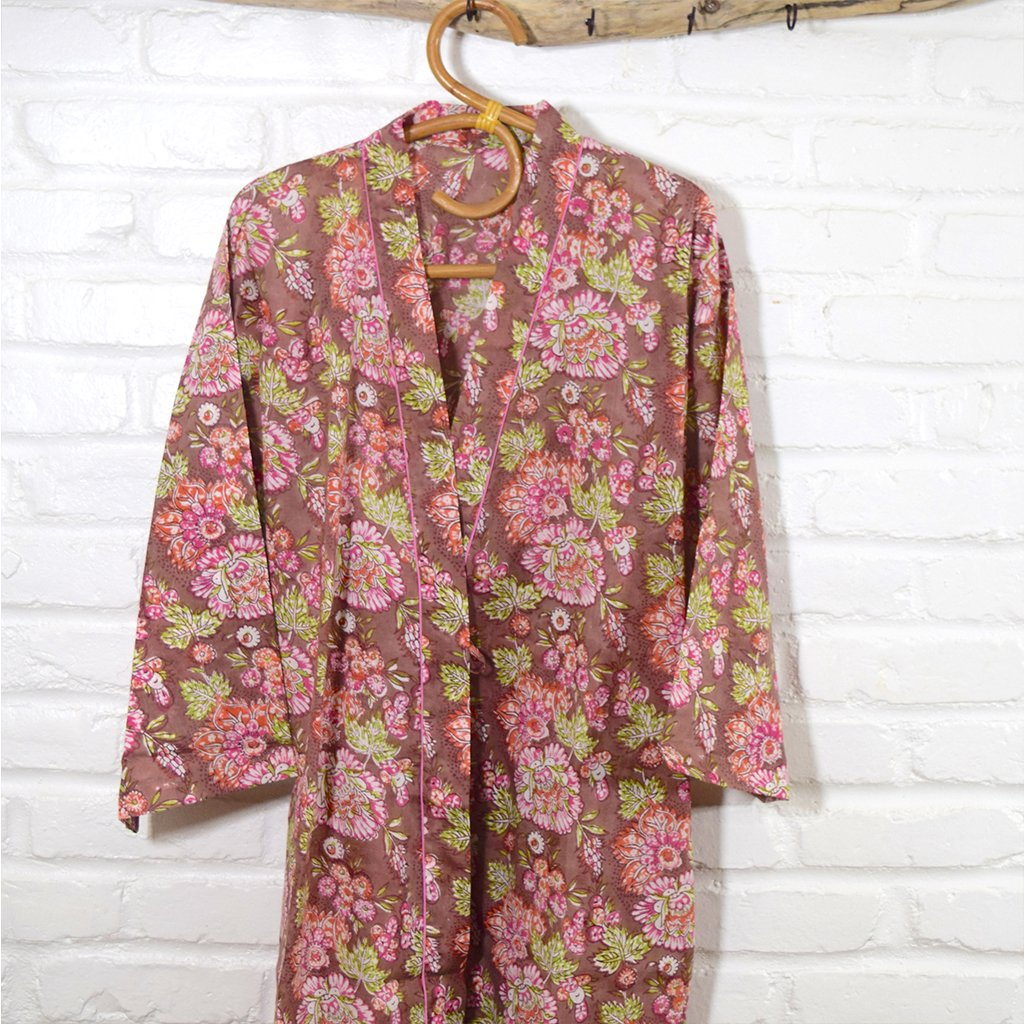 Brown and Pink Bridesmaid kimono robe The Fox and the Mermaid