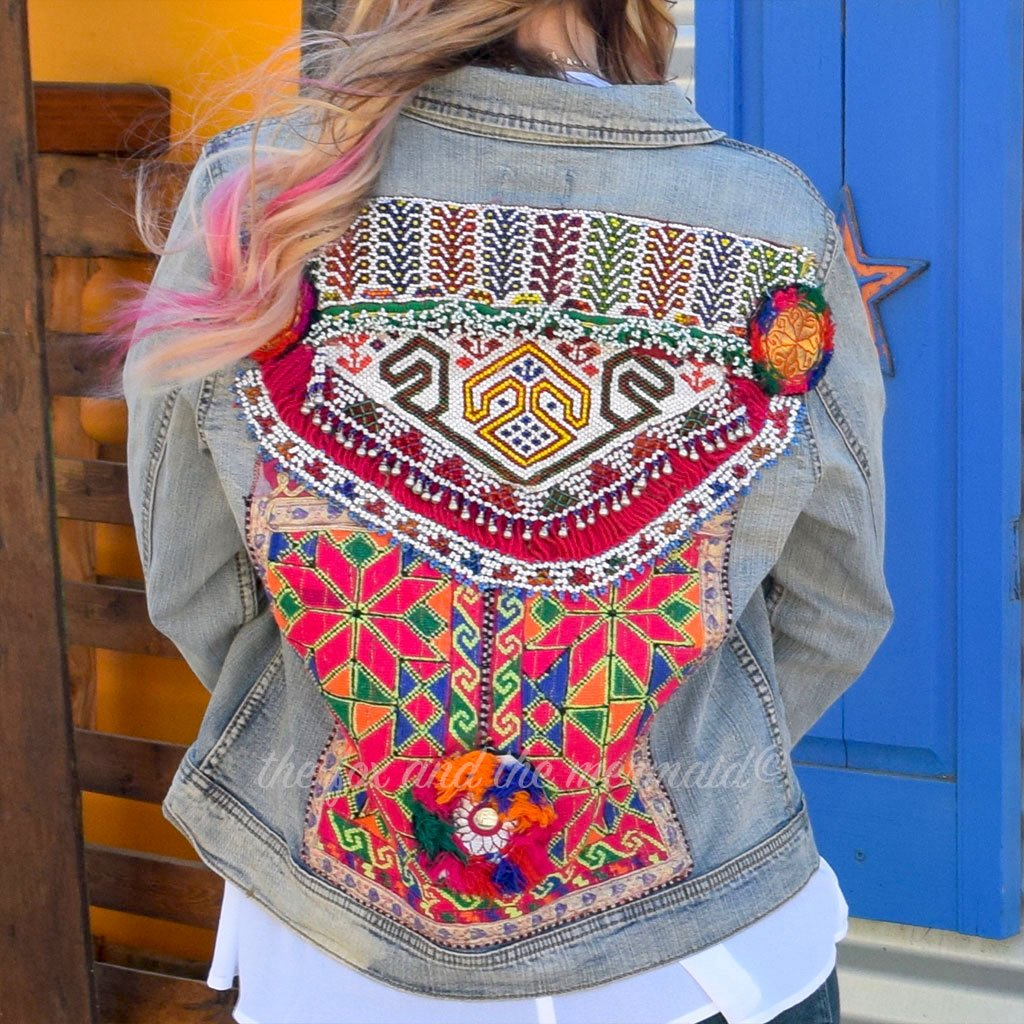 Pink Banjara Denim Jacket with Bells The Fox and the Mermaid