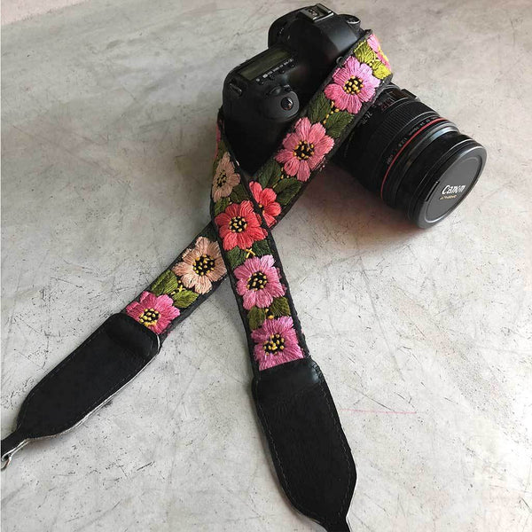 Camera Strap with Pink Flowers The Fox and the Mermaid