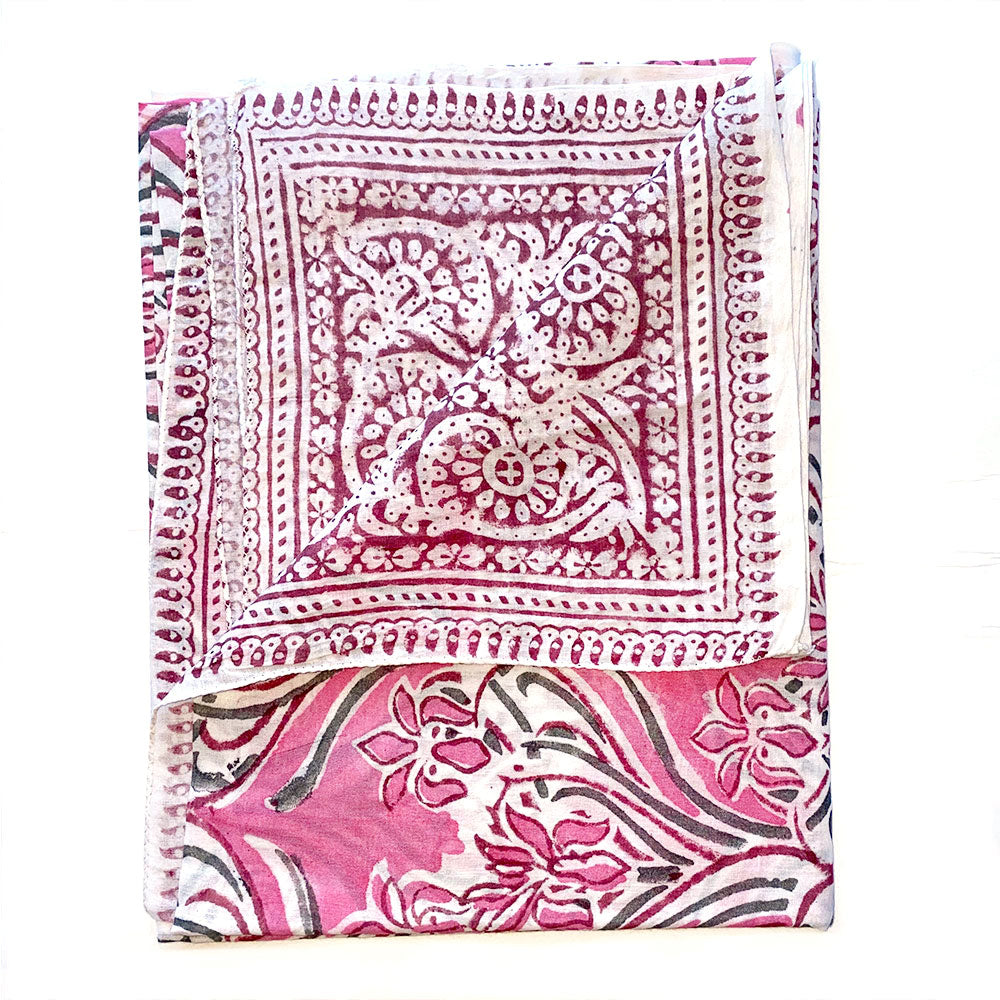 Pink and Green Indian Cotton sarong - The Fox and the Mermaid