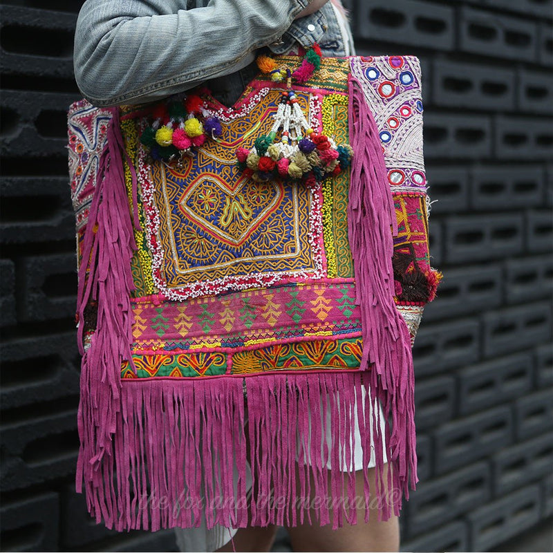 hand embroidered banjara bag the Fox and the Mermaid