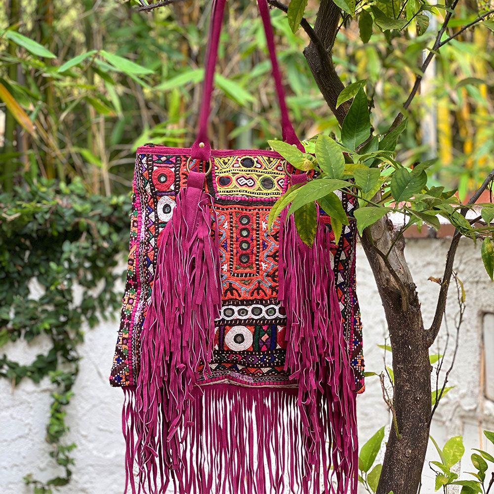hand embroidered indian bag with long suede fringe - The Fox and the Mermaid