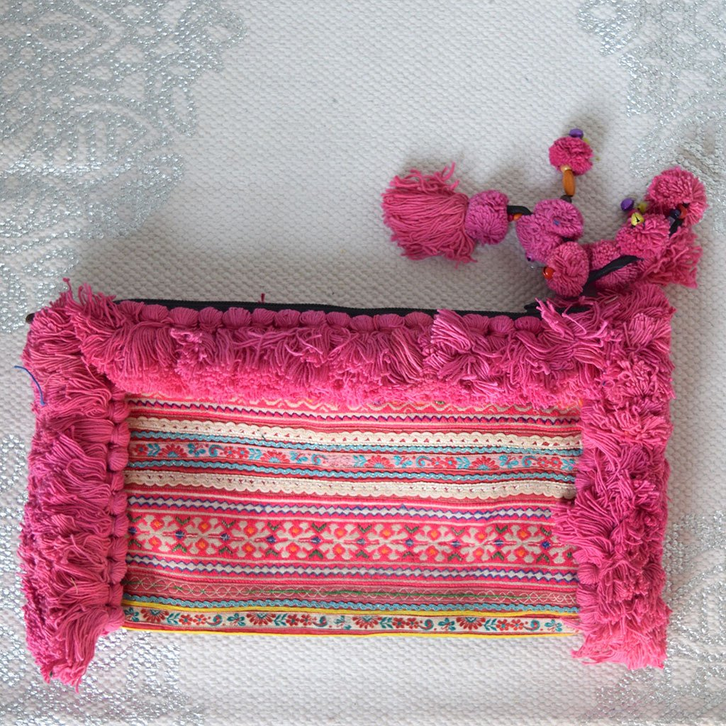Large Hmong Embroidered Clutch with Pom-Poms (various colors) - The Fox and The Mermaid - 1