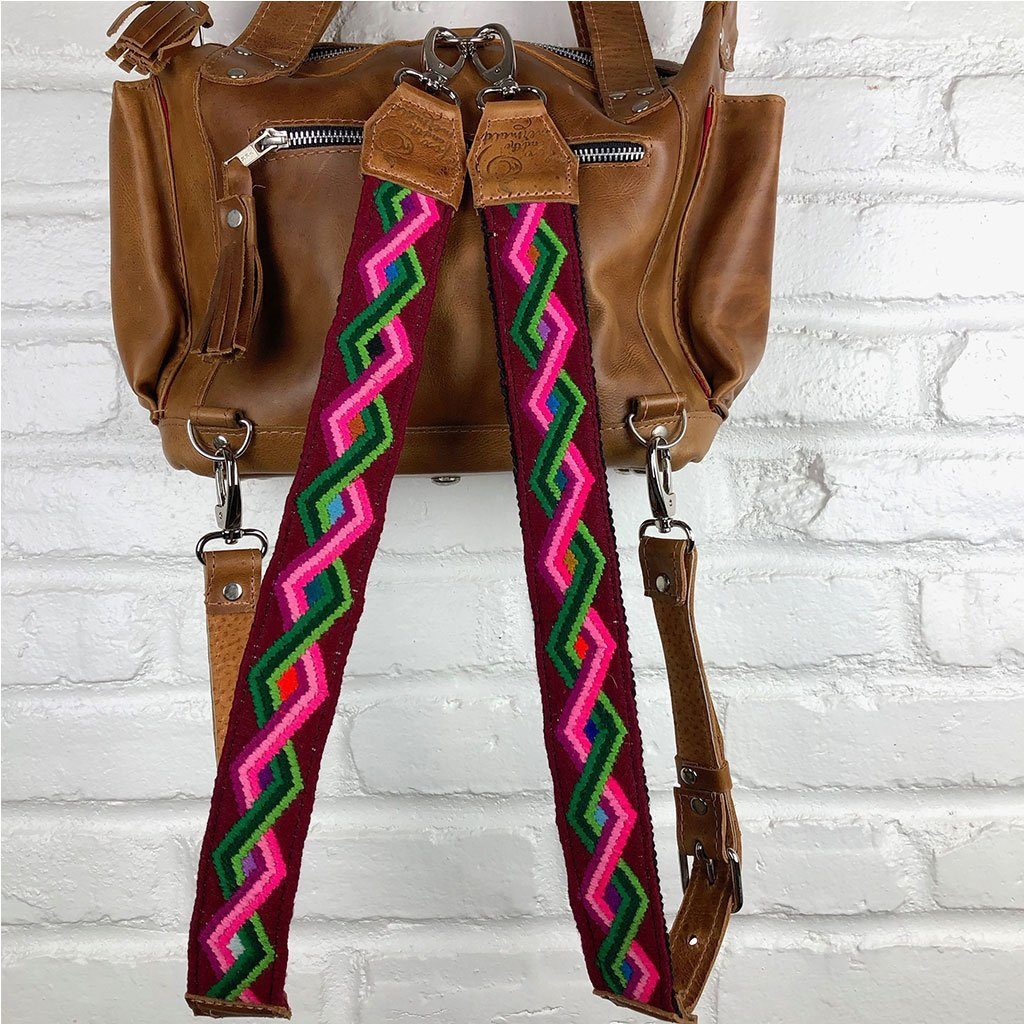Pink Green and Red Embroidered Backpack Straps  - The Fox and the Mermaid
