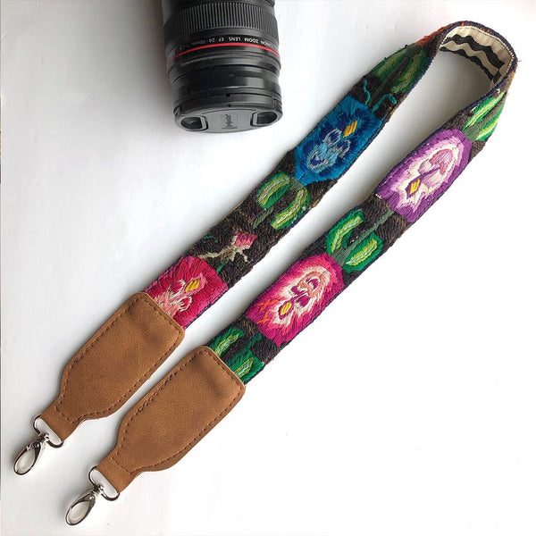Embroidered vegan strap with flowers The Fox and the Mermaid