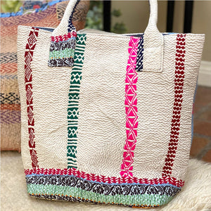 Pink and White Vintage Kantha Bag - The Fox and the Mermaid