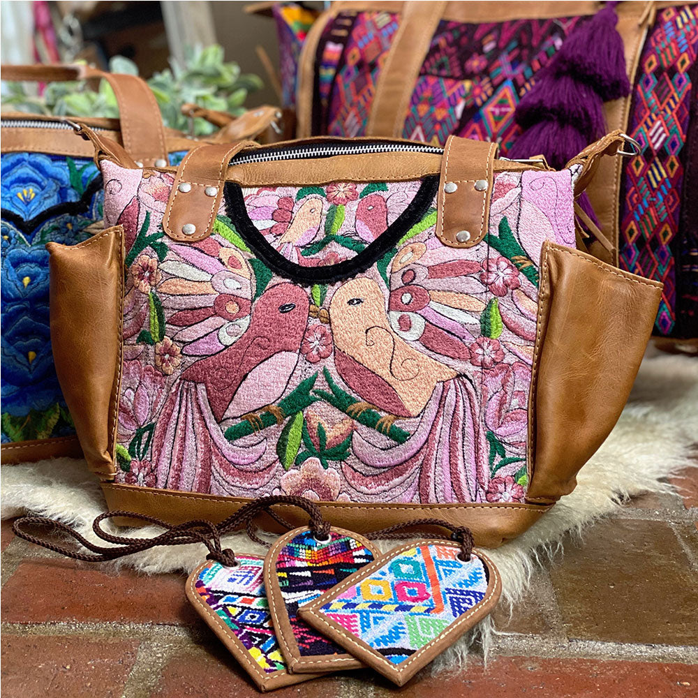 huipil backpack with pink lovebirds - The Fox and the Mermaid