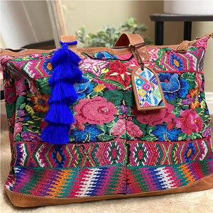 Guatemalan weekender bag with huipil embroidery - The Fox and the Mermaid