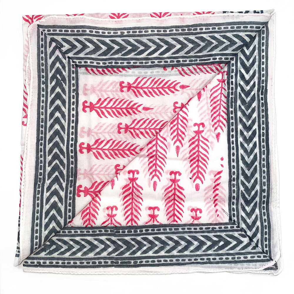 pink mughal block printed bandana - The Fox and the Mermaid