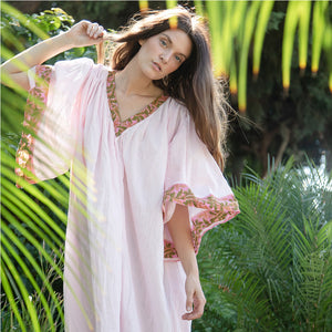 Gathered boho sleeves on indian kaftan Dress - The Fox and the Mermaid